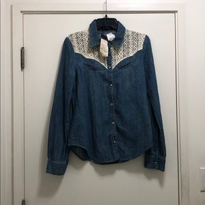 Sanctuary lace denim button down